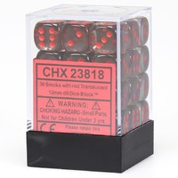 Chessex Signature 12mm D6 Dice Block: Smoke & Red Translucent