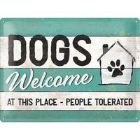 Nostalgic Art: Tin Sign - Dogs Welcome
