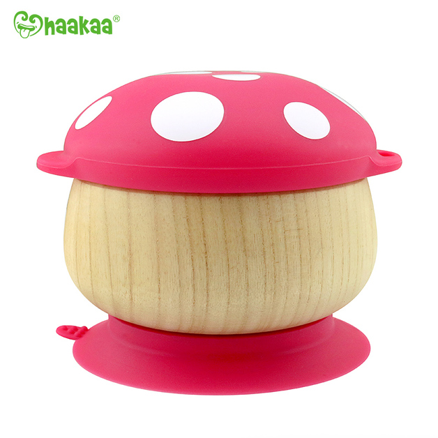 Haakaa: Wooden Mushroom Bowl with Suction Base - Red