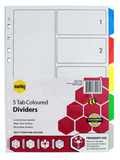 Marbig A4 Plastic 5 Tab Dividers - Coloured