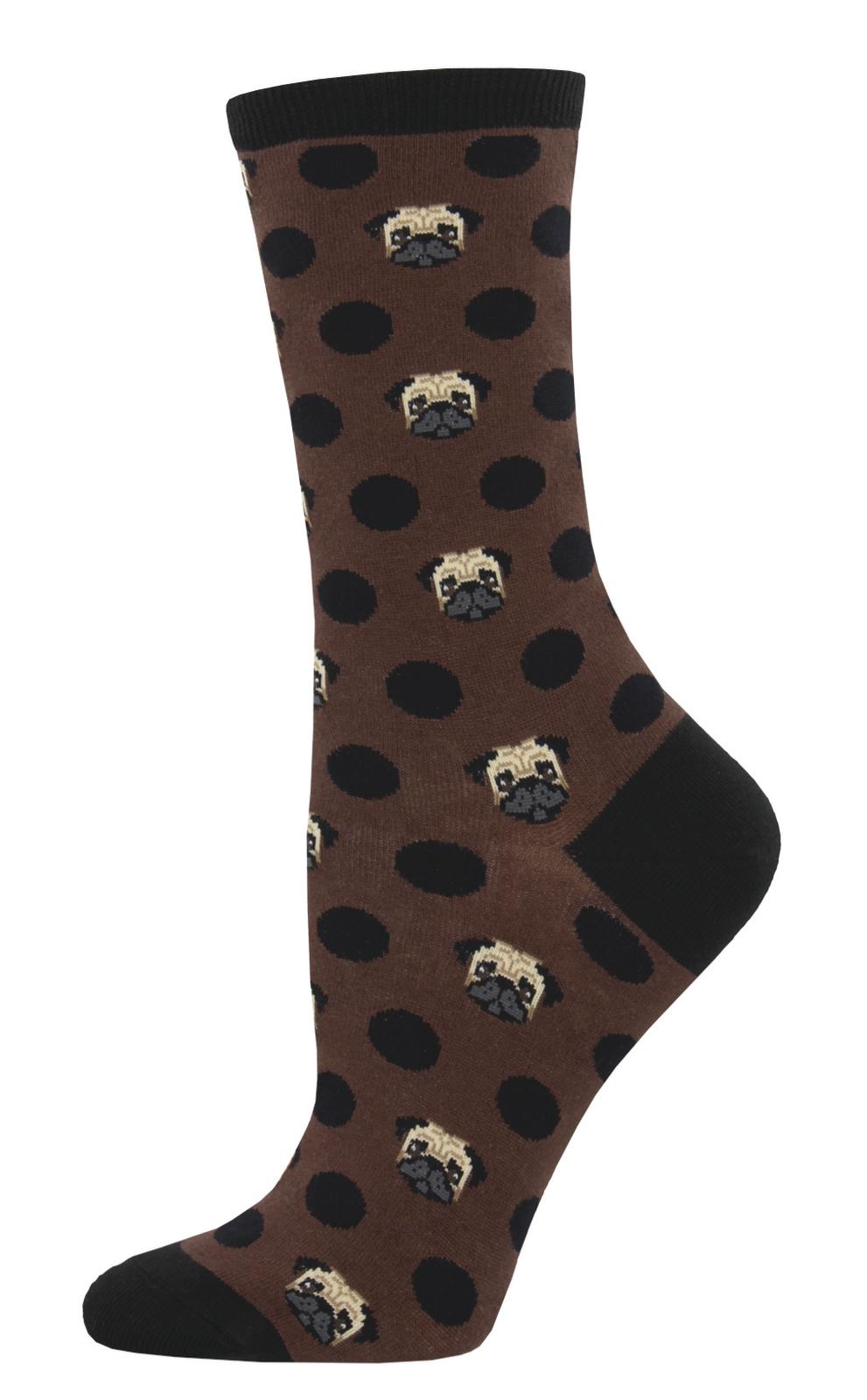 Socksmith: Women's Pugka-Dot Crew Socks - Brown image
