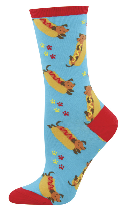 Women's Weiner Dog Crew Socks - Blue