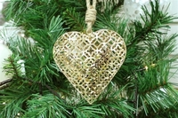 Poppy Metal Heart Decoration - Gold (11cm)