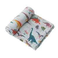 Little Unicorn: Cotton Muslin Swaddle - Embroidosaurus (Single)