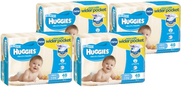 Huggies Ultra Dry Nappies Bulk Shipper - Infant Boy 4-8kg (192)