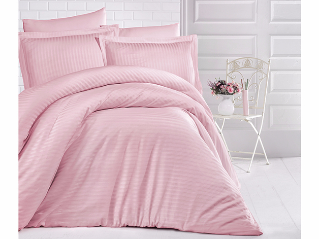 King Size Stripe Satin Duvet Cover Set - Powder