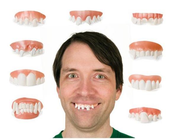 Archie McPhee: Gnarly Teeth - Fake teeth Set (Set of 9)