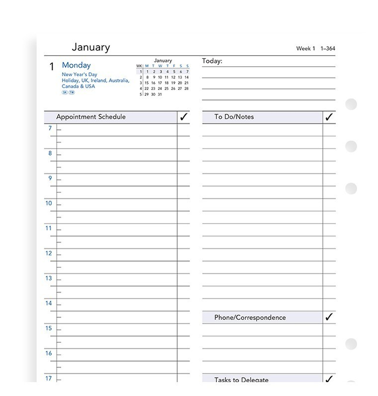 Filofax: A5 2020 Refill - Business Day per Page with Appointments & To Do List(Lined) image