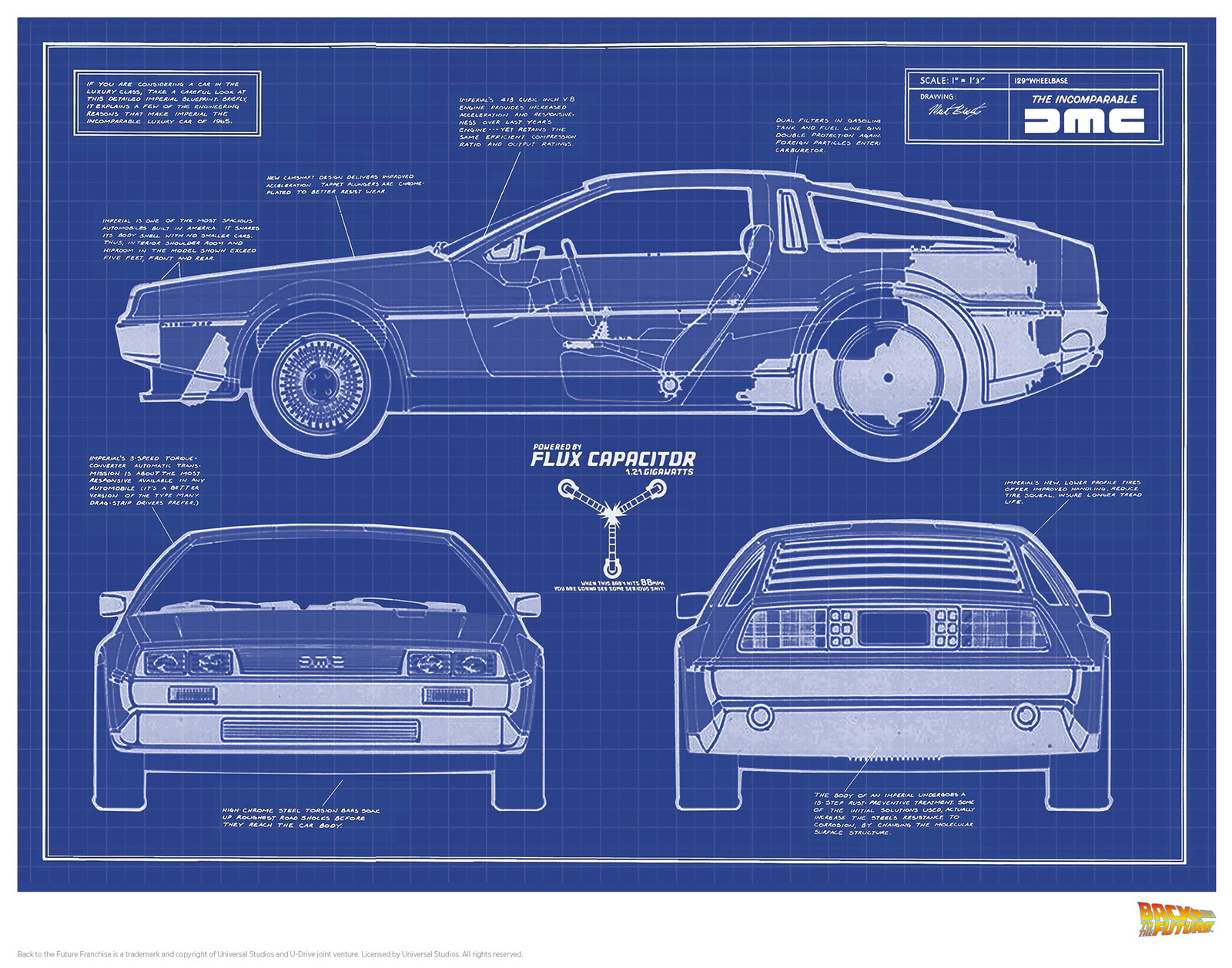 Back to the Future: Premium Art Print - Delorean Plans image