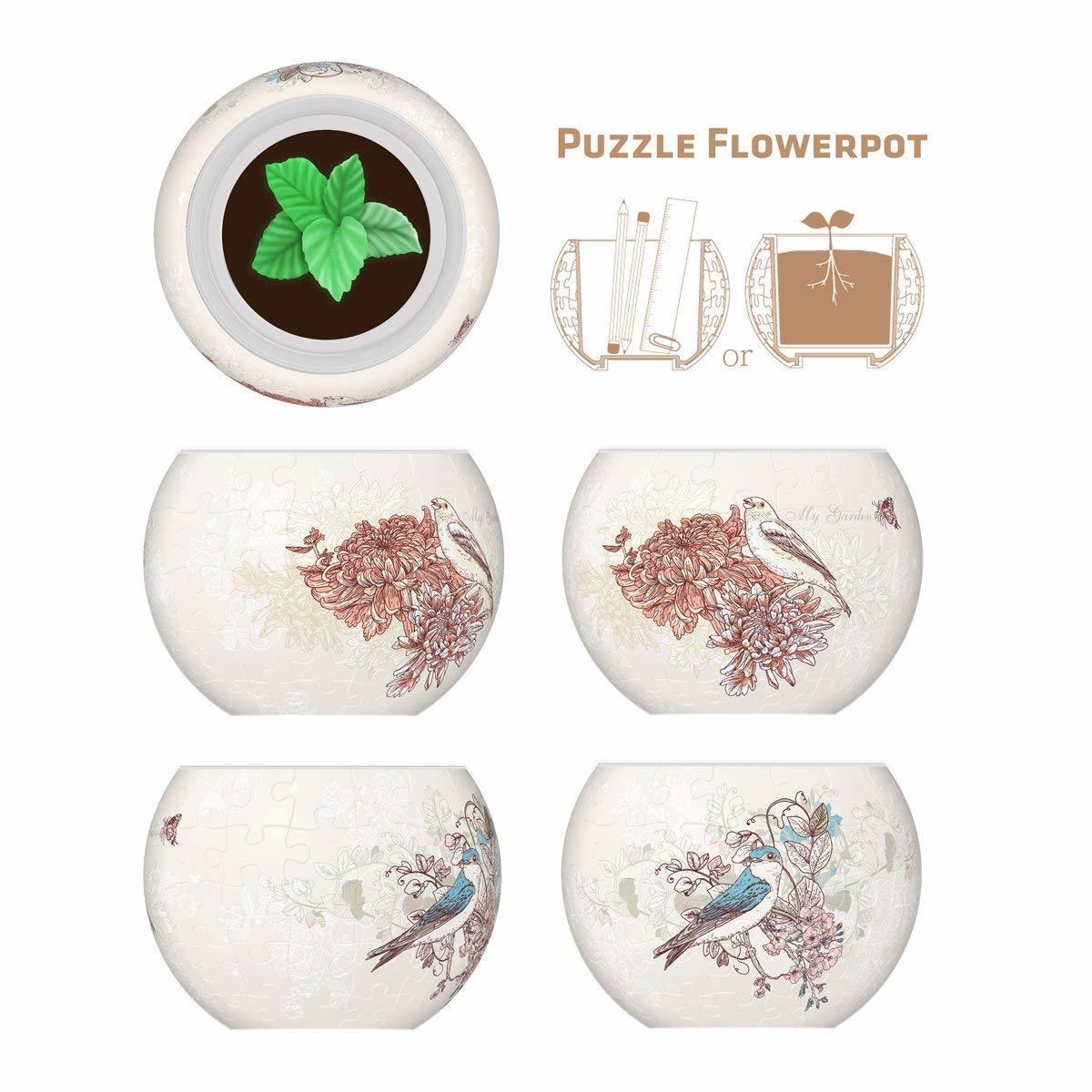 Pintoo: 80-Piece Puzzle Flower Pot - Singing Birds & Flowers image
