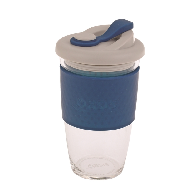 Oasis Glass Coffee Cup - Navy (454ml)