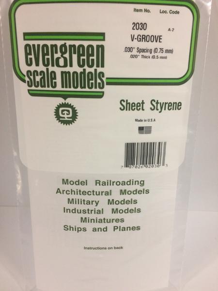 Evergreen Styrene V Groove 15X29cm X.5 mm Sp.75 mm