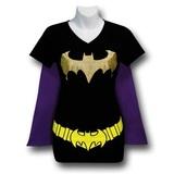 Batgirl Women's V-Neck Caped Costume Slim T-Shirt (X-Large)