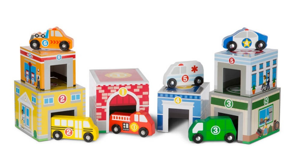 Melissa & Doug: Nesting & Sorting - Vehicles & Buildings Set image