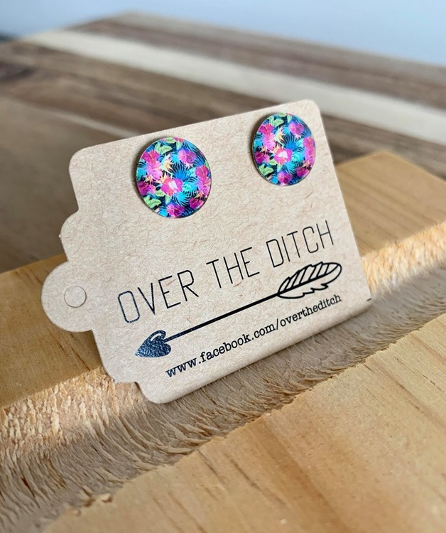 Over the Ditch: Dome Earrings - Floral Turquoise/Pink