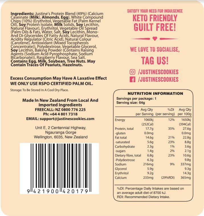 Justine's Protein Cookies - Raspberry White Chocolate (12 x 64g) image