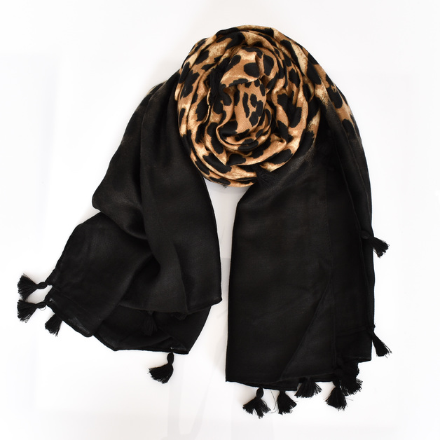 Adorne: Bordered Leopard Tassel Edge Scarf