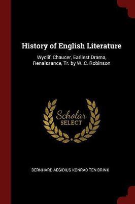 History of English Literature by Bernhard Aegidius Konrad ten Brink