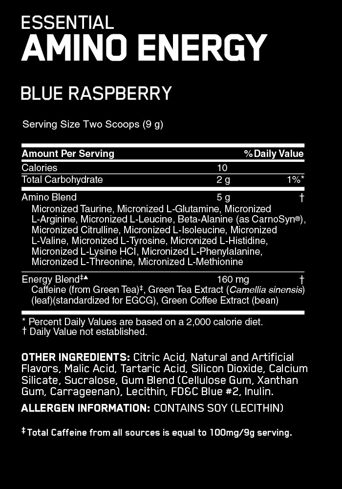 Optimum Nutrition Amino Energy Drink - Blue Raspberry (65 Serves) image