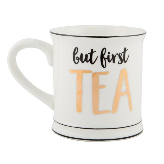 Metallic Monochrome Mug (But First Tea)