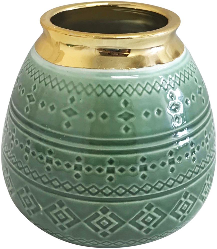 Sage Tribal Squat Vase (14cm) image
