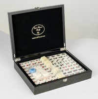 Dal Rossi Italy Mahjong Set - Carbon Fibre Finish Case (29cm)