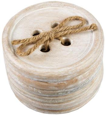 Wooden Button Coaster Set (6 pc)