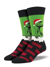 Mens - Green Habanero Raptor Claus Christmas Crew Socks