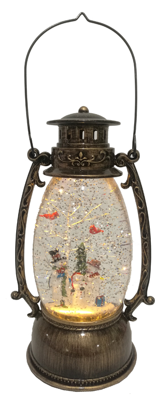 Cotton Candy: Brass Oval Lantern with Snowmen