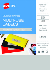 Avery L7264 Multi-Use Labels - Storm Grey (10 Sheets/80 Labels)