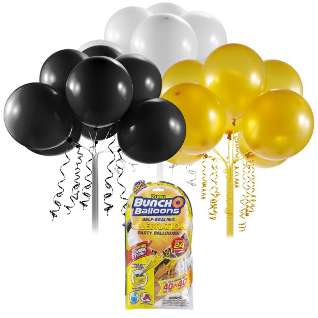 Bunch O' Balloons: Self Sealing Party Balloons - (24 x Black/Gold/White)