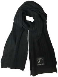 Silver Ferns Ribbed Scarf (Black)
