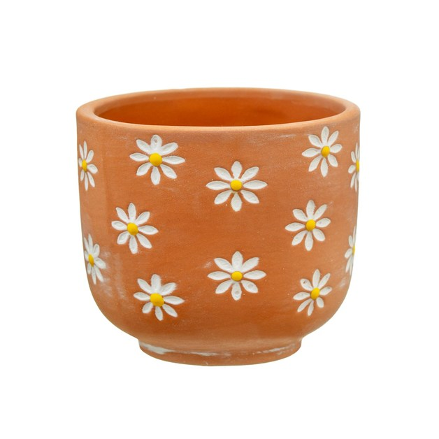 Sass & Belle: Mini Terracotta Planter - Daisies