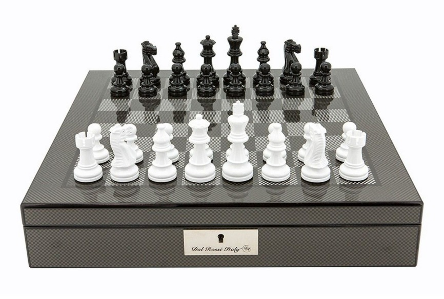 "Dal Rossi: Lockable Chess Set - 16"" Game Board (Carbon Fibre) image"