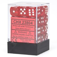 Chessex Signature 12mm D6 Dice Block: Red & White Translucent