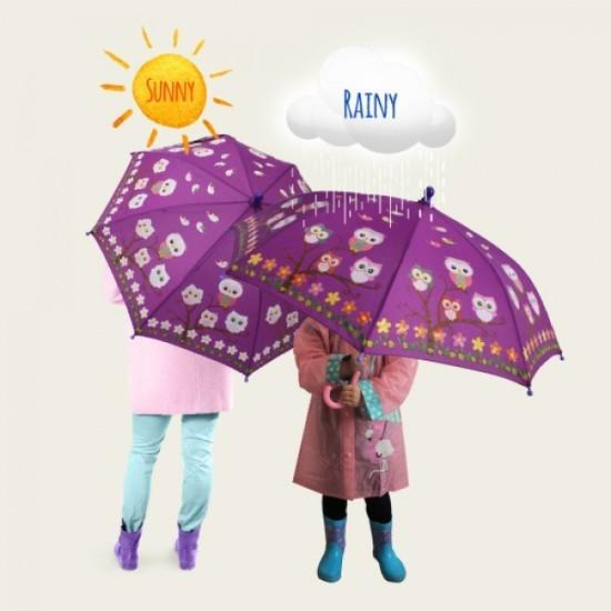 Colour Change Kids Umbrella - Owls image