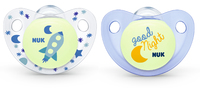 NUK: Glow in the Dark Soother - 0-6 Months (2 Pack) - Blue