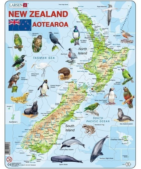 Larsen Maxi: New Zealand Map - 71pc Jigsaw Puzzle