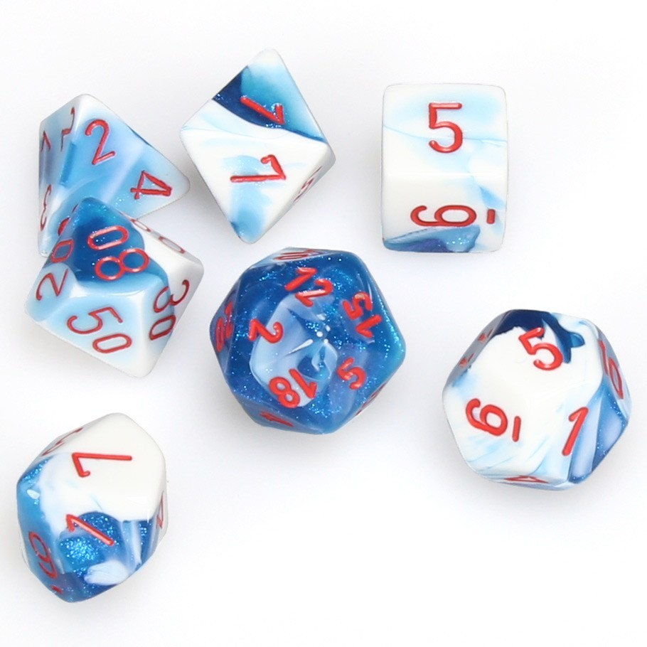Chessex Polyhedral Dice Set: Astral Blue, White & Red image