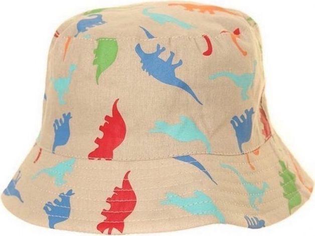 Kids Cotton Dinosaur Design Bush Hat - Natural (6-12 Months)