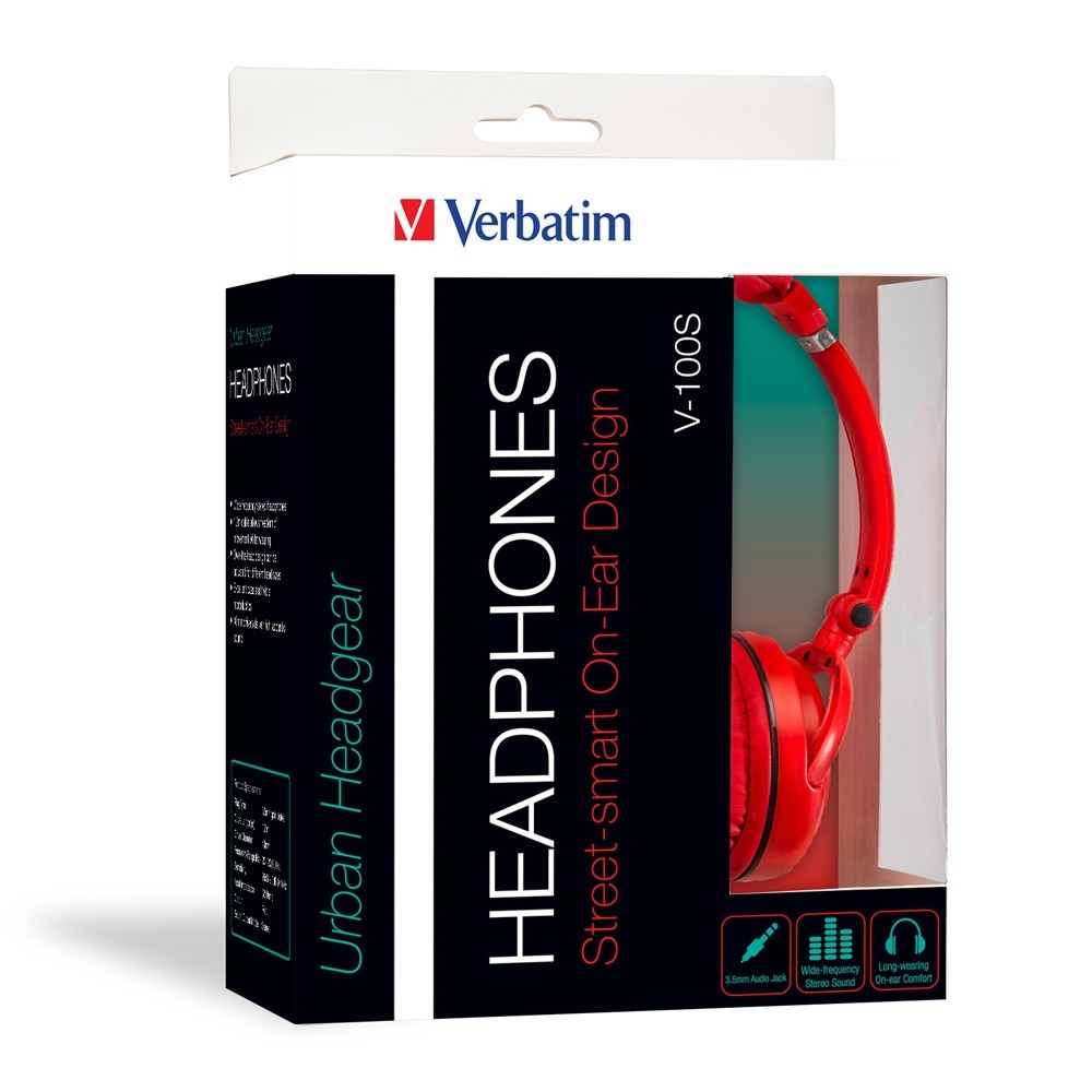 Verbatim TDK ST100 On-Ear Street Audio Headphones (Red) image