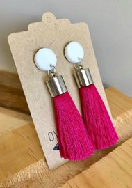 Over the Ditch: Tassle Earrings - Hot Pink image