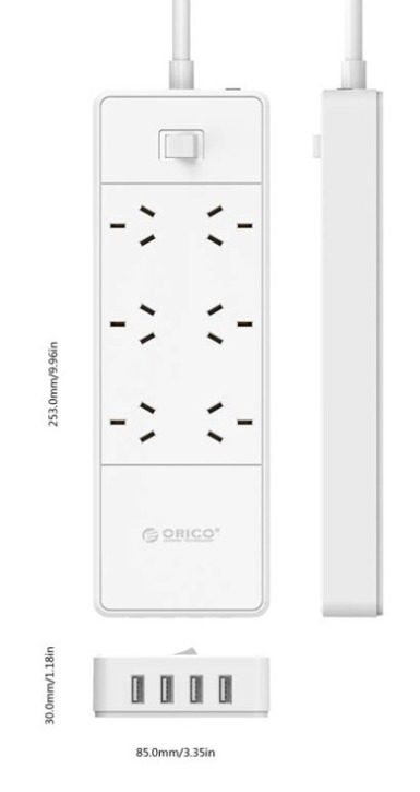 Orico 6 Way Outlet Surge Protector Power Board with 4 x USB image