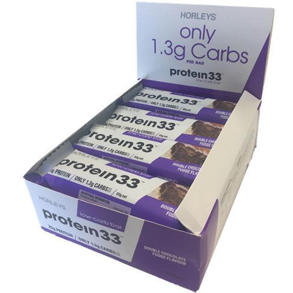 Horleys Protein 33 Low Carb Bars - Double Chocolate Fudge (12 x 60g Pack)
