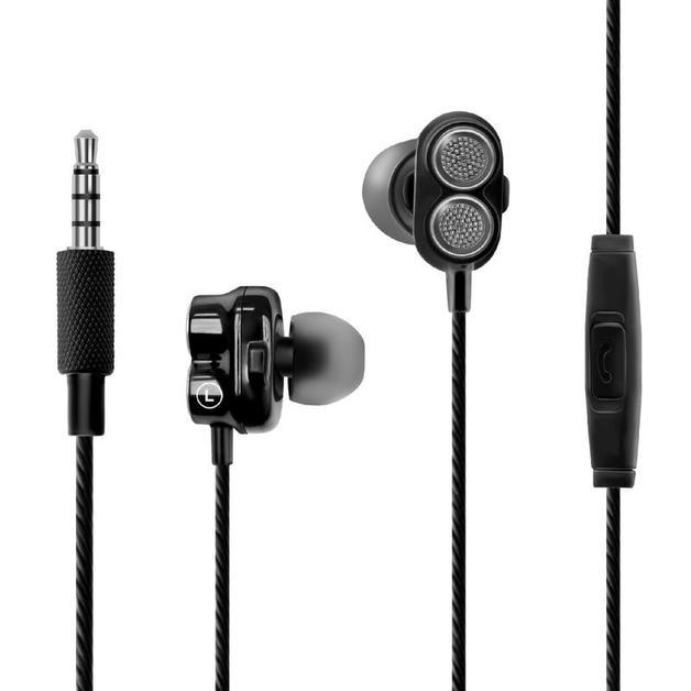 Promate Onyx Bass Boost Dual Driver In-Ear Earphones - Black