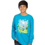 Minecraft Adventure Youth Long Sleeve T-Shirt - Turquoise (XL)
