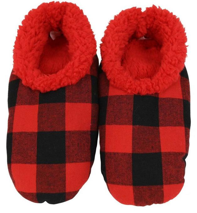 Slumbies Red/Black Men's Plaid Slippers (M)