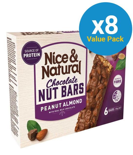 Nice & Natural Choc Nut Bar - Peanut & Almond (8 x 180g)