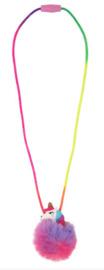 Pink Poppy: Unicorn Pom Pom - Breakaway Clasp Necklace