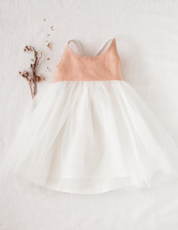 Karibou Kids: Willa Reversible Linen Tutu Dress - Peach Orchard 3YRS